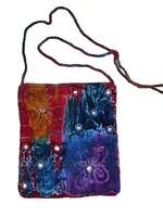 Tie Dye Velvet Embroidered Mirrored Hippy Bag