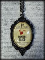 Large Gothic Glass Cameo Necklace - Vampire's Blood Potion