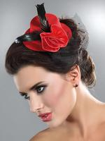 Gothic Burlesque Red Mini Hat with Rose and Veil