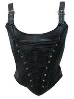 Gothic Punk Black Vegan Leather PVC Corset Bodice