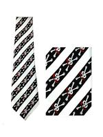 Men's Gothic Tie - Diagonal Stripes with Skulls