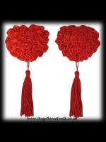 Gothic Burlesque Nipple Covers - Red Roses