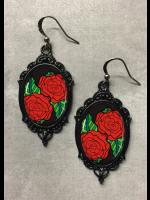 Red Rose Tattoo Rockabilly Earrings #1