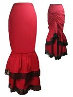 Long Red Gothic Victorian Bustle Mermaid Skirt