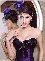 Purple Gothic Burlesque Hat with Rose & Veil