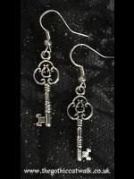 Steampunk Alice Silver Key Earrings
