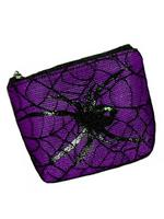 Purple Gothic Coin Purse with Spider & Cobweb Lace