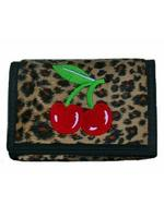 Rockabilly Punk Leopard Skin Wallet Purse - Cherries