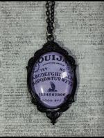 Large Gothic Glass Cameo Necklace - Purple Ouija Board