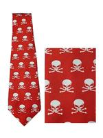 Men's Red Gothic Tie with White Skulls