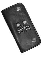 Gothic Biker Double Skull Black Wallet Purse