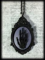 Large Gothic Victorian Cameo Necklace - Black Skeleton Hand
