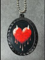 Gothic Cameo Necklace - Bleeding Heart