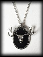 Large Cameo Gothic Necklace - 3D Silver Deer Skull with Antlers