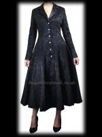 Black Damask Fitted Gothic Frock Coat