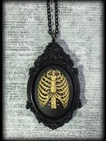 Large Gothic Victorian Cameo Necklace - Ivory Ribcage
