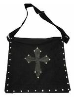 Large Black Gothic Bag - Cross & Studs