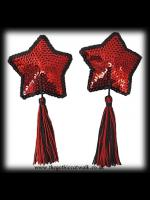 Red Star Shaped Sequinned Burlesque Nipple Covers