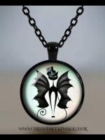 Cat with Bat Wings Glass Cameo Gothic Necklace