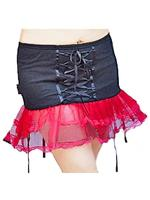 XS Punk Black Fishnet & Red Net Gothic Tutu Mini Skirt