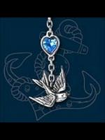 Alchemy Swallow Necklace with Blue Crystal Heart