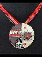 Red Enamelled Hippy Goth Disc Necklace