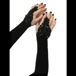 Black Velvet & Sequins Fingerloop Gloves