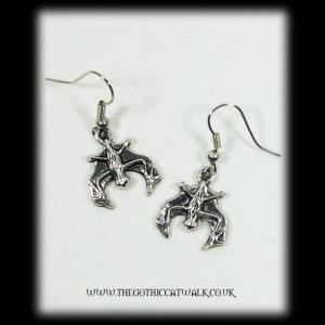 Silver Vampire Bat Gothic Earrings