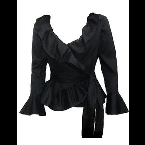 Black Gothic Jacket Top with Ruffle Neck
