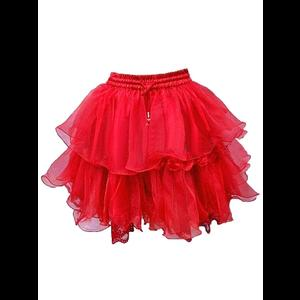 Red Organza & Lace Frilly Tutu Skirt