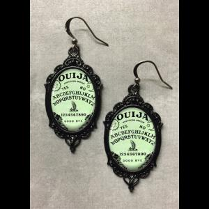 Glass Cameo Gothic Earrings - Green Ouija Board