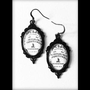 Black and White Ouija Board Gothic Earrings
