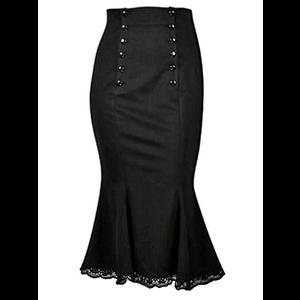 Short Flared Lace-Edged Black Skirt - Corporate Goth