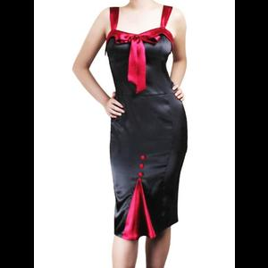 Black & Red Satin Rockabilly Pin Up Pencil Dress