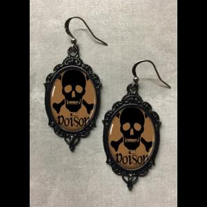 Glass Cameo Gothic Earrings - Poison Skull & Crossbones