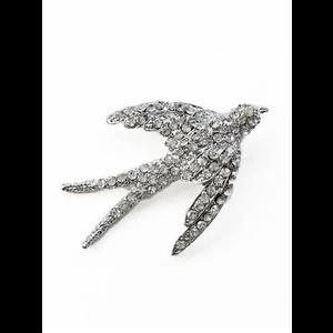 Rockabilly Pinup Diamante Swallow Brooch