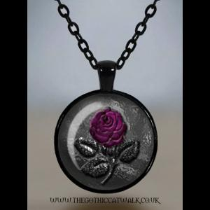 Purple Rose and Stone Glass Cameo Gothic Necklace
