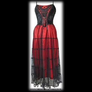 Long Velvet Silk & Net Gothic Dress - Red