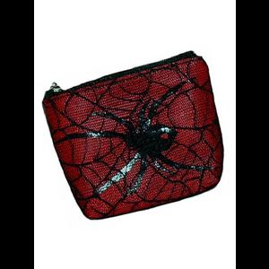 Red Gothic Coin Purse with Spider & Cobweb Lace