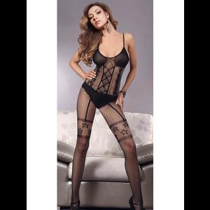 Black Fishnet Bodysuit with Illusion Design