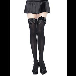 Burlesque Black Thigh High Stockings with Bow
