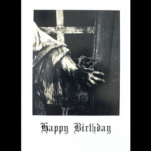 Gothic Birthday Card - Stone Statue with Rose