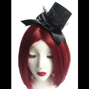 Gothic Burlesque Black Sequinned Mini Top Hat