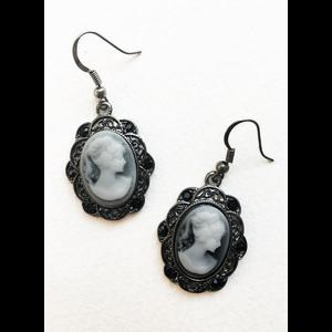 Gothic Victorian Grey Cameo Earrings