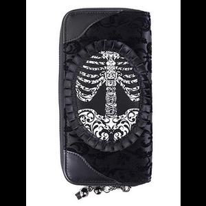 Gothic Steampunk Black Flocked Velvet Wallet by Banned - Ribcage