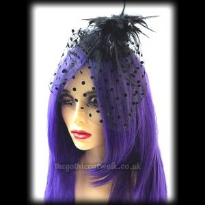 Elegant Black Gothic Fascinator with Spotted Veil