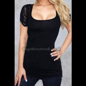 Black Top with Stranded Sleeves