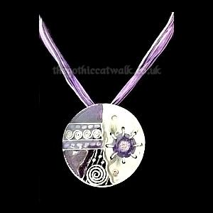 Purple Enamelled Hippy Goth Disc Necklace